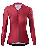 cheap -21Grams Women's Long Sleeve Cycling Jersey Spandex Red Dark Navy Polka Dot Bike Top Mountain Bike MTB Road Bike Cycling Quick Dry Moisture Wicking Sports Clothing Apparel / Stretchy / Athleisure