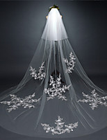 cheap -One-tier Classic Style Wedding Veil Chapel Veils with Embroidery / Appliques 118.11 in (300cm) Tulle