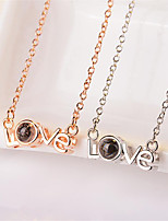 cheap -White Synthetic Diamond Pendant Necklace Chain Necklace Rolo Letter Punk Trendy Casual / Sporty Fashion Copper Silver Plated Silver 40+5 cm Necklace Jewelry 1pc For Anniversary Sport Street Birthday