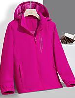 cheap -Women's Hoodie Jacket Hiking Windbreaker Hiking Fleece Jacket Elastane Winter Outdoor Solid Color Thermal Warm Waterproof Windproof Fleece Lining Outerwear Trench Coat Top Full Length Visible Zipper