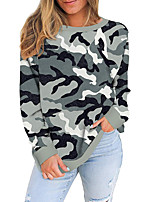 cheap -Women's Sweatshirt Pullover Leopard Camo / Camouflage Print Crew Neck Casual Daily Active Streetwear Hoodies Sweatshirts  Blue Gray Khaki