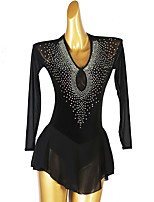 cheap -Figure Skating Dress Women's Girls' Ice Skating Dress Black Open Back Patchwork High Elasticity Training Competition Skating Wear Classic Long Sleeve Ice Skating Figure Skating / Kids