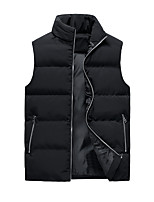cheap -Men's Vest Sport Daily Fall Winter Regular Coat Stand Collar Loose Thermal Warm Windproof Warm Breathable Sporty Jacket Sleeveless Solid Color Print Blue Khaki Black
