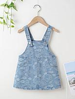 cheap -Kids Little Girls' Dress Solid Color MXY180103 blue Sleeveless Fashion Cute Dresses Summer