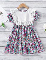 cheap -Kids Little Girls' Dress Flower / Floral Purple Short Sleeve Fashion Cute Dresses Summer