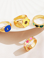 cheap -Ring Fancy Gold Alloy Moon Heart Flower Stylish Simple Unique Design 1pc One Size / Star