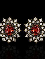 cheap -Women's AAA Cubic Zirconia Earrings Oval Cut Petal Luxury Romantic Fashion European Earrings Jewelry Black For Anniversary Party Evening Date Birthday Festival 1 Pair