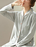 cheap -Women's Maternity Nursing Pajamas Sets Home Party Bed Pure Color Cotton Simple Soft Shirt Pant Fall Spring Summer Lapel Long Sleeve Long Pant Buckle