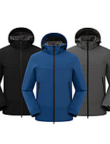cheap -Cikrilan Men's Hiking Softshell Jacket Hiking Windbreaker Hiking Fleece Jacket Fleece Elastane Softshell Winter Outdoor Solid Color Thermal Warm Waterproof Windproof Fleece Lining Outerwear Trench