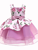 cheap -Kids Little Girls' Dress Floral A Line Dress Casual Daily Bow Print Blushing Pink Dusty Blue White Midi Sleeveless Princess Cute Dresses Fall Summer Regular Fit 3-10 Years
