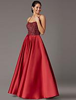 cheap -A-Line Luxurious Elegant Party Wear Formal Evening Dress Spaghetti Strap Sleeveless Floor Length Satin with Beading 2021