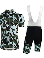 cheap -CAWANFLY Men's Short Sleeve Cycling Jersey with Shorts Summer Camouflage Bike Sports Geometic Mountain Bike MTB Road Bike Cycling Clothing Apparel / Micro-elastic / Athleisure / Triathlon