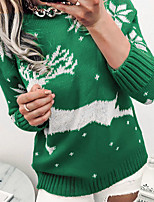 cheap -Women's Sweater Knitted Abstract Stylish Christmas Long Sleeve Sweater Cardigans Crew Neck Fall Winter Gray Green Red