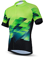 cheap -21Grams Men's Short Sleeve Cycling Jersey Summer Spandex Polyester Green / Black Funny Bike Top Mountain Bike MTB Road Bike Cycling Quick Dry Moisture Wicking Breathable Sports Clothing Apparel