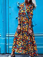 cheap -Women's Swing Dress Maxi long Dress Blue Purple Yellow Red Long Sleeve Abstract Print Fall V Neck Casual 2021 S M L XL XXL