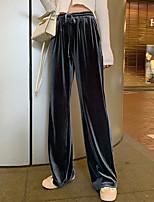 cheap -Women's Casual / Sporty Streetwear Comfort Chinos Loose Casual Weekend Pants Plain Full Length Elastic Drawstring Design Gray Black