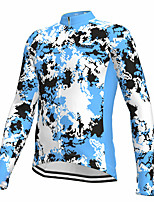 cheap -21Grams Men's Long Sleeve Cycling Jersey Spandex Blue Camo / Camouflage Fluorescent Bike Top Mountain Bike MTB Road Bike Cycling Quick Dry Moisture Wicking Sports Clothing Apparel / Athleisure