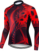cheap -21Grams Men's Long Sleeve Cycling Jersey Spandex Polyester Red Gear Funny Bike Top Mountain Bike MTB Road Bike Cycling Quick Dry Moisture Wicking Breathable Sports Clothing Apparel / Stretchy