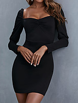 cheap -Women's Sheath Dress Short Mini Dress Black Long Sleeve Solid Color Ruched Fall Boat Neck Casual 2021 S M L XL