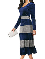 cheap -Women's A Line Dress Midi Dress Blue Purple Green Long Sleeve Color Block Ruched Patchwork Fall V Neck Casual 2021 S M L XL XXL 3XL 4XL 5XL