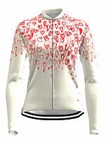cheap -21Grams Women's Long Sleeve Cycling Jersey Spandex Polyester White Heart Funny Bike Top Mountain Bike MTB Road Bike Cycling Quick Dry Moisture Wicking Breathable Sports Clothing Apparel / Stretchy