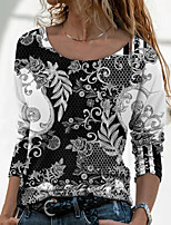 cheap -Women's Floral Theme Painting T shirt Floral Graphic Long Sleeve Print Round Neck Basic Tops Black