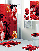 cheap -Beautiful ink Painting Flowers Printed Bathroom Home Decoration Bathroom shower curtain lining waterproof shower curtain with 12 hooks floor mats and four-piece toilet mats.
