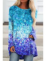 cheap -Women's Geometric Painting T shirt Color Gradient Geometric Long Sleeve Print Round Neck Basic Tops Blue Purple