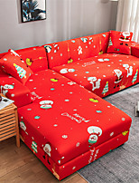 cheap -Christmas Santa Claus Sofa Cover Slipcover Elastic Sectional Couch Armchair Loveseat 4 or 3 seater L shape Red Snowman Print Pattern Soft Durable Washable
