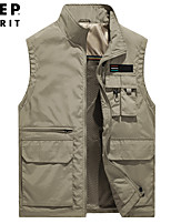 cheap -Men's Vest Sport Daily Fall Spring Regular Coat Stand Collar Loose Thermal Warm Windproof Breathable Boho Jacket Sleeveless Solid Color Embroidered Khaki Black Army Green