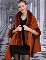 cheap -3/4 Length Sleeve Luxury / Elegant Faux Fur Wedding / Party / Evening Shawl & Wrap / Women's Wrap With Split Joint / Solid