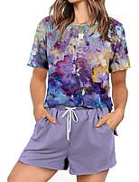 cheap -Women Basic Streetwear Tie Dye Oil Painting Casual Vacation Two Piece Set Tracksuit T shirt Pant Shorts Jogger Pants Drawstring Print Tops
