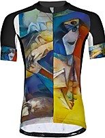 cheap -21Grams Men's Short Sleeve Cycling Jersey Summer Spandex Polyester Blue+Yellow Funny Bike Top Mountain Bike MTB Road Bike Cycling Quick Dry Moisture Wicking Breathable Sports Clothing Apparel