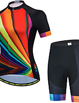 cheap -21Grams Women's Short Sleeve Cycling Jersey with Shorts Summer Spandex Black / Red Rainbow Stripes Bike Quick Dry Moisture Wicking Sports Rainbow Mountain Bike MTB Road Bike Cycling Clothing Apparel
