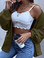 cheap -Women's Cardigan Sweater Modern Style Solid Color Casual Long Sleeve Loose Sweater Cardigans Open Front Fall Winter Light Pink Blushing Pink khaki