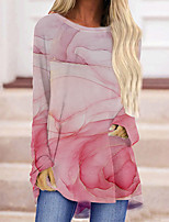 cheap -Women's Abstract Painting T shirt Graphic Long Sleeve Print Round Neck Basic Tops Blushing Pink / 3D Print