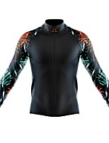 cheap -21Grams Men's Long Sleeve Cycling Jersey Spandex Polyester Black Floral Botanical Funny Bike Top Mountain Bike MTB Road Bike Cycling Quick Dry Moisture Wicking Breathable Sports Clothing Apparel