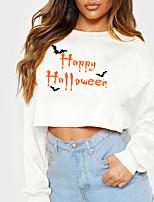 cheap -Women's Sweatshirt Crop Top Text Bat Crop Top Print Halloween Sports Hot Stamping Cotton Streetwear Halloween Hoodies Sweatshirts  Yellow Gray White