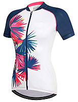 cheap -21Grams Women's Short Sleeve Cycling Jersey Summer Spandex Polyester White Color Block Floral Botanical Funny Bike Top Mountain Bike MTB Road Bike Cycling Quick Dry Moisture Wicking Breathable Sports