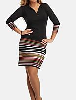 cheap -Women's Sheath Dress Short Mini Dress Black 3/4 Length Sleeve Striped Print Fall V Neck Casual 2021 S M L XL XXL 3XL 4XL 5XL