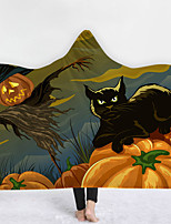 cheap -Cotton Polyester Blend Halloween Printing Throw Blanket Wearable Hoodie For Couch Chair Sofa Bed Soft Fluffy Warm Cozy Plush Autumn Winter