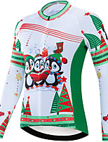 cheap -21Grams Women's Long Sleeve Cycling Jersey Spandex Polyester Green Funny Penguin Bike Top Mountain Bike MTB Road Bike Cycling Quick Dry Moisture Wicking Breathable Sports Clothing Apparel / Stretchy