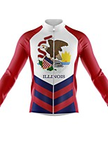 cheap -21Grams Men's Long Sleeve Cycling Jersey Spandex Polyester Red and White American / USA Eagle Funny Bike Top Mountain Bike MTB Road Bike Cycling Quick Dry Moisture Wicking Breathable Sports Clothing