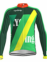 cheap -21Grams Men's Long Sleeve Cycling Jersey Spandex Polyester Green Color Block Funny Bike Top Mountain Bike MTB Road Bike Cycling Quick Dry Moisture Wicking Breathable Sports Clothing Apparel