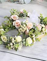 cheap -Curling Rose Headband Simulation Gypsophila Eucalyptus Wreath Bridal Wedding Photography Photo Headdress