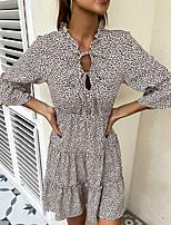 cheap -Women's Swing Dress Short Mini Dress khaki Long Sleeve Leopard Print Smocked Fall Spring Crew Neck Casual Modern 2021 S M L XL
