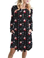 cheap -Women's A Line Dress Knee Length Dress Blue Wine Green Dark Green Black Red Navy Blue Long Sleeve Print Print Fall Winter Round Neck Casual Christmas 2021 S M L XL XXL 3XL 4XL 5XL