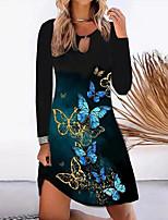 cheap -Women's A Line Dress Short Mini Dress Black Long Sleeve Butterfly Print Fall Round Neck Casual 2021 S M L XL XXL 3XL 4XL 5XL