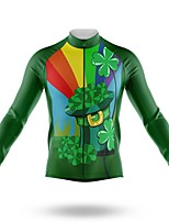 cheap -21Grams Men's Long Sleeve Cycling Jersey Spandex Polyester Green Funny Bike Top Mountain Bike MTB Road Bike Cycling Quick Dry Moisture Wicking Breathable Sports Clothing Apparel / Stretchy