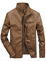 cheap -Men's Hiking Jacket Faux Leather Jacket Hiking Windbreaker PU Leather Winter Outdoor Solid Color Thermal Warm Windproof Lightweight Outerwear Trench Coat Top Full Length Visible Zipper Skiing